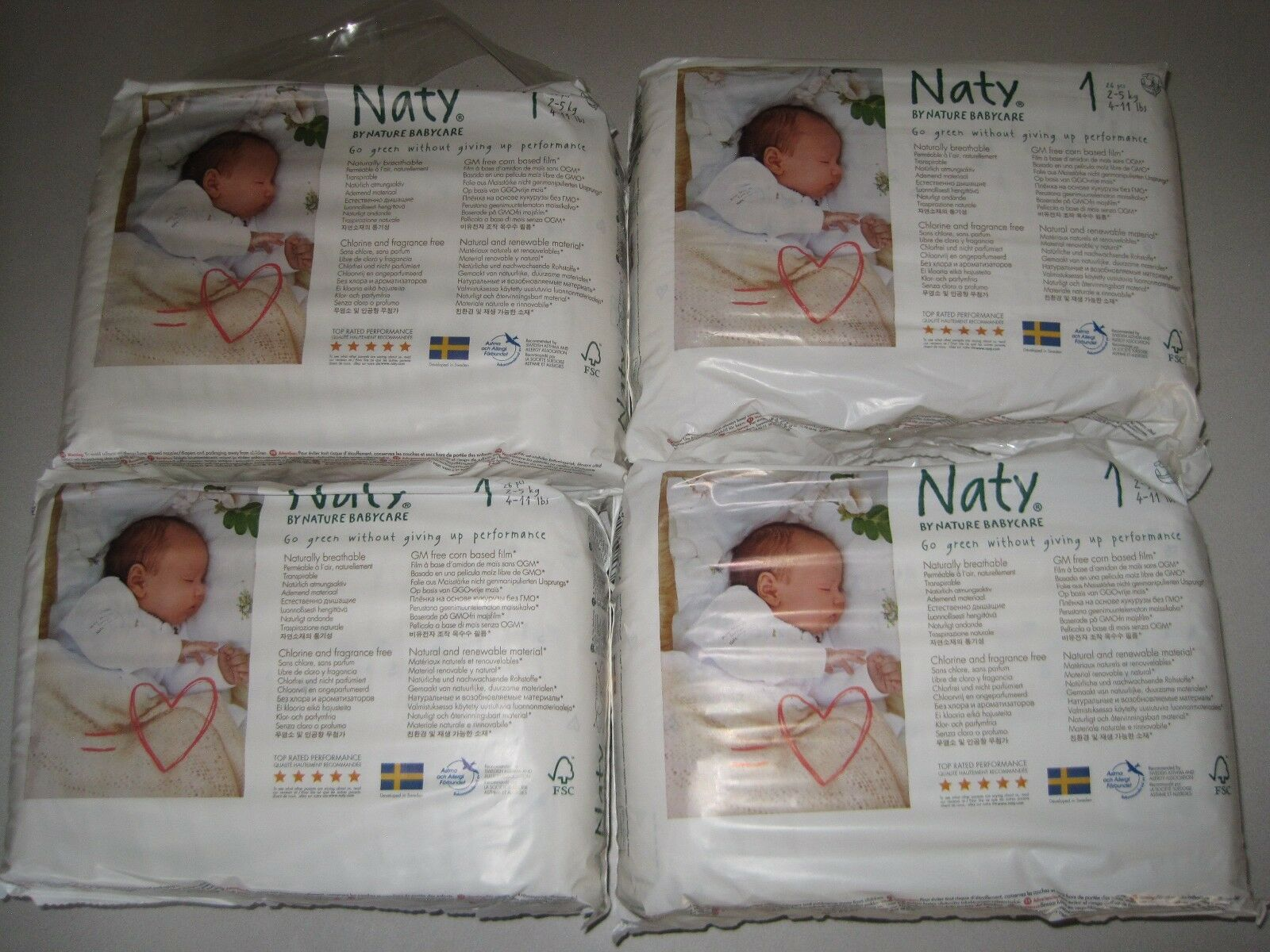4 x Packs of 26 Naty by Nature Babycare Newborn Size 1 ECO Nappies 104 Nappies