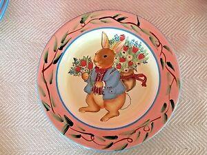 Susan Winget Certified International Bunny Rabbit Shallow Bowl Dish ...
