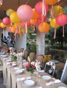 Details About 12 Yellow Chinese Hanging Paper Lanterns Fall Party Outdoor Decorations