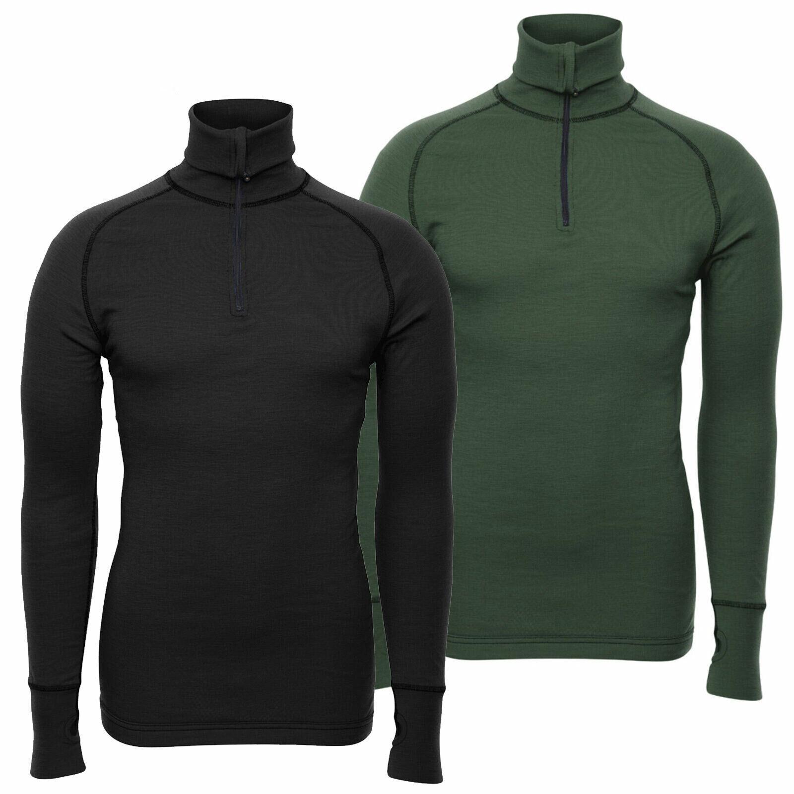 Brynje Arctic Double 1/4 Zip Polo Neck Warm Thermal Merino Wool Base Layer Shirt