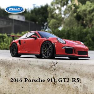 Welly-echelle-1-24-2016-Porsche-911-991-GT3-RS-Diecast-Metal-Voiture-Modele-de-vehicule-rouge
