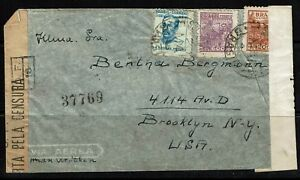 Brazil-WWII-Double-Censored-Airmail-Cover-Lot-090617