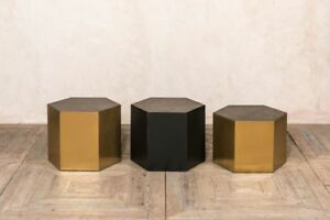 Hexagonal Coffee Table Small Black Side Table Plant Stand Metallic Brass