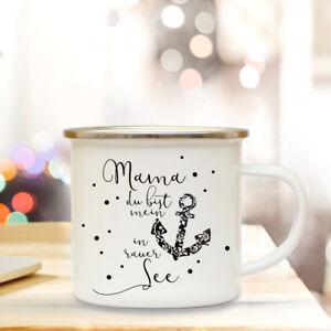 Emaille Becher Muttertag Tasse Campingbecher Spruch Motto Mama Mein Anker Eb132 Büro & Schreibwaren
