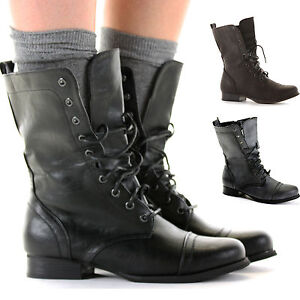 Ladies-Worker-Army-Flat-Lace-Up-Biker-Style-Military-Shoes-Ankle-Boots-Size-3-8