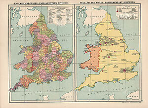 Map Of Uk Hull.1930 Map England Wales Parlimentary Divisions Boroughs