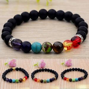 Fashion-8MM-Natural-Stone-Energy-Yoga-Reiki-7-Chakra-Charm-Women-Men-039-s-Bracelets