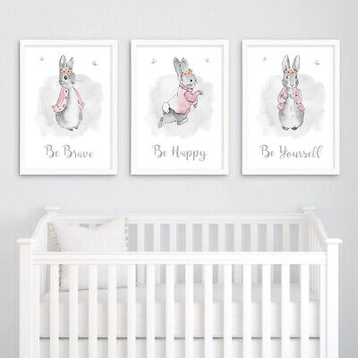 3 Cute Rabbit Unicorn Magical Prints Nursery Wall Art Decor Girls Room Pictures