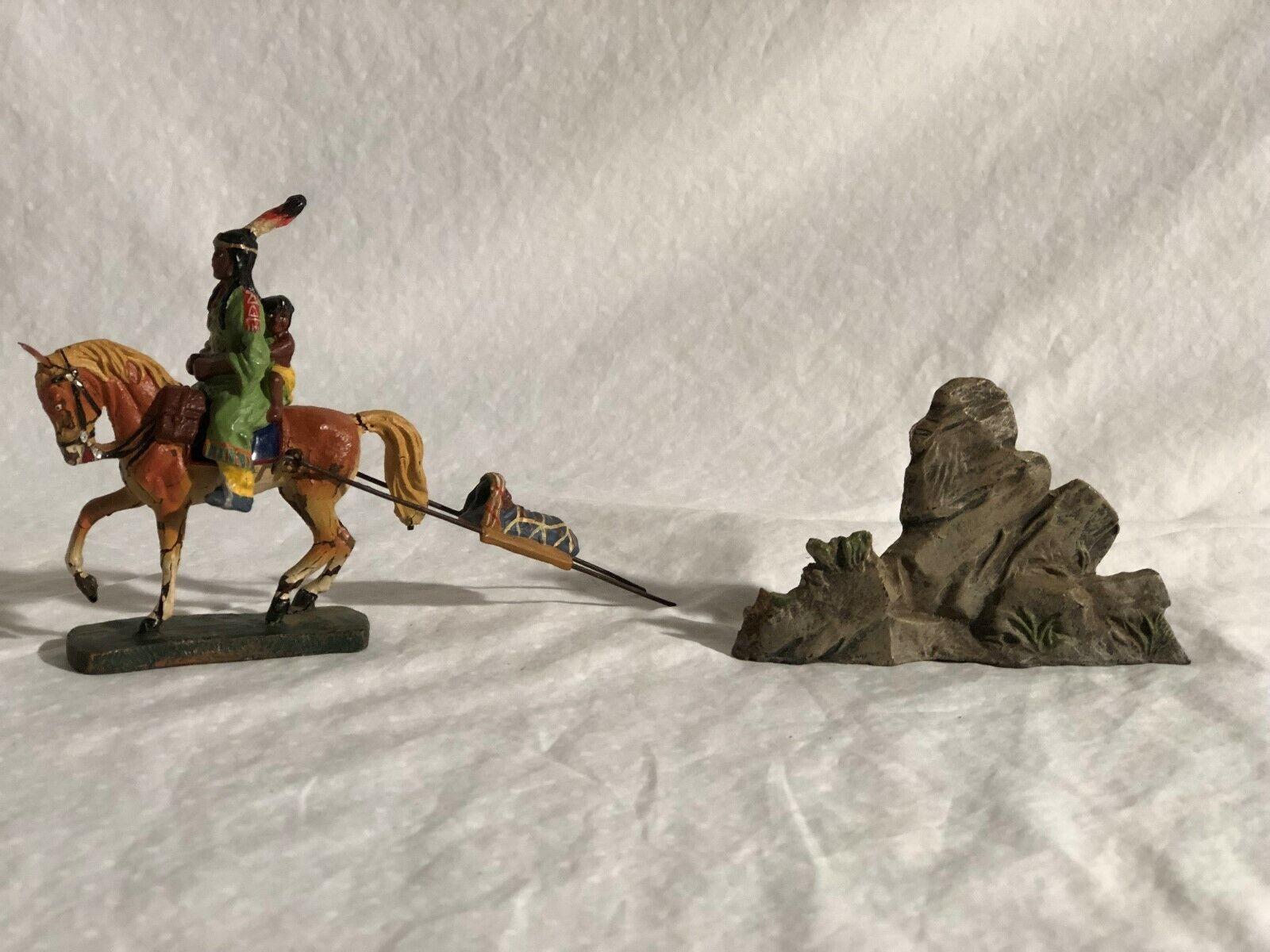 Elastolin Indianer DaSie auf Pferderücken Ziehung Baby