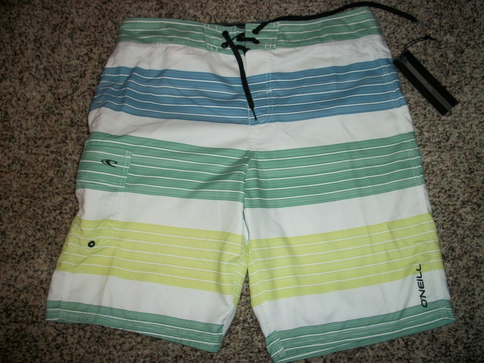O'NEILL New NWT Mens Board Swim Shorts White bluee Green Stripe 32 34
