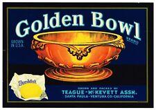 Santa Paula Ventura County Golden Bowl #2 Lemon Citrus Fruit Crate Label Print