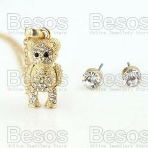 ARTICULATED-TEDDY-BEAR-pendant-NECKLACE-chain-GOLD-FASHION-SET-crystal-UK-GIFT