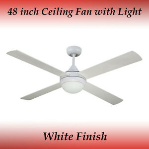 Revolve 48 inch Ceiling Fan in White with Light
