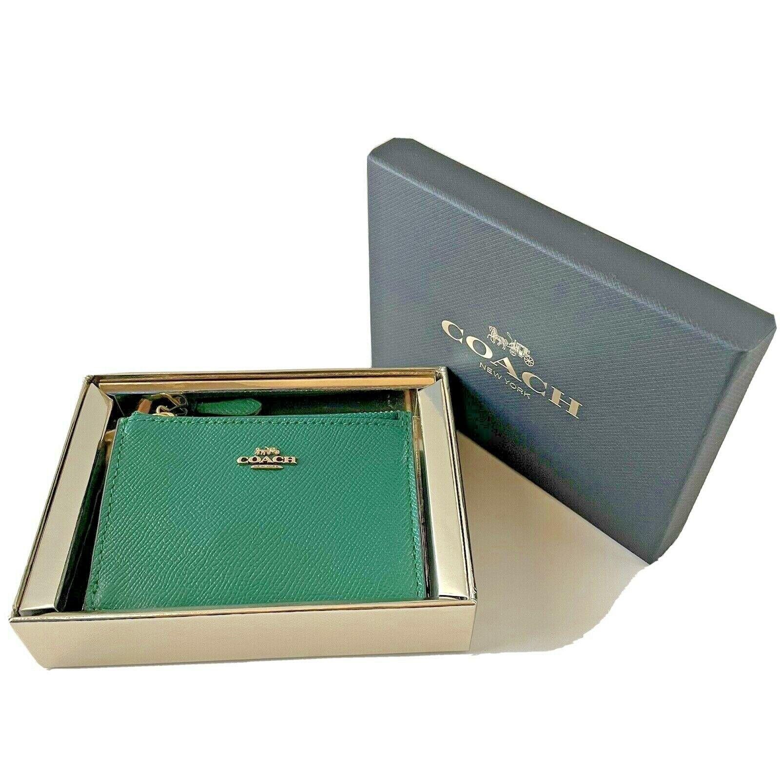 Gift Boxed NWT COACH 57841B GBBH8 Mini Skinny Id Case GD/Bright Jade (Green)