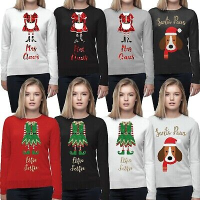Ladies Womens Novelty Christmas Elf Mrs Claus Dog Sequin Thin Knit Top Jumper