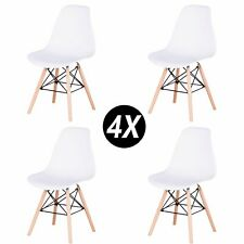 Pack de 4 sillas con patas de madera Sillas de comedor nórdicas Blanca EGOONM