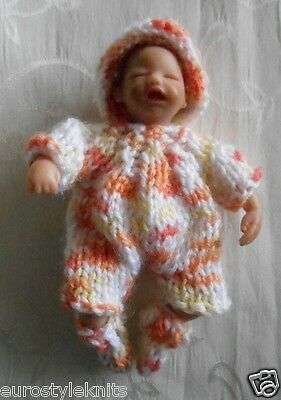 """Doll Clothes Hand Knitted Fall colors suit 3 pcsfit 4.5"""" 5in. ooak polymer baby"""