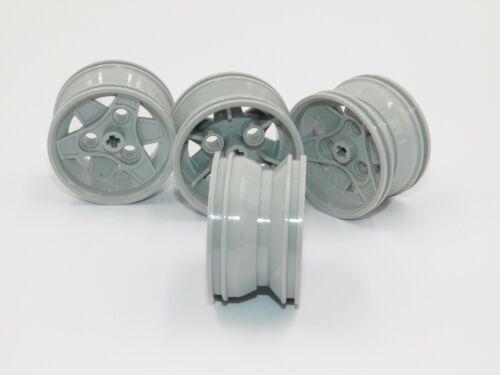 4 x Lego Light Gray Wheel 43.2mm D x 26mm Technic Racing 3 Pin Holes car