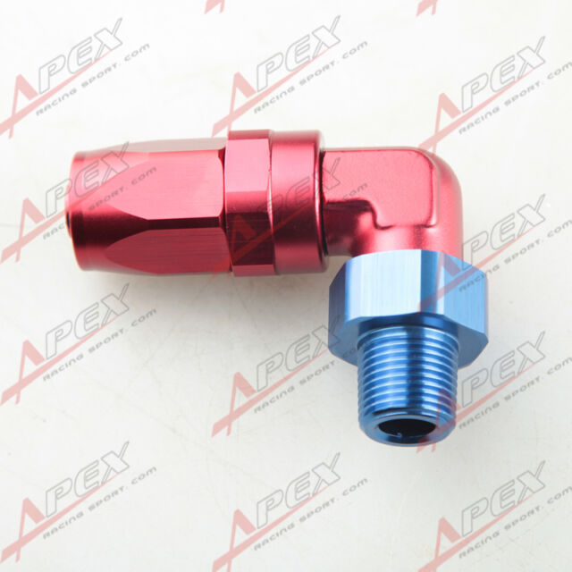 """-10 AN 10AN to 3/8"""" NPT 90 Degree Swivel Hose End Fitting Adaptor Red/Blue"""