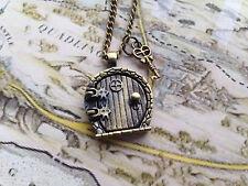 """Hobbit Door Locket Necklace/Fairy Charm Bronze Fantasy 18"""""""