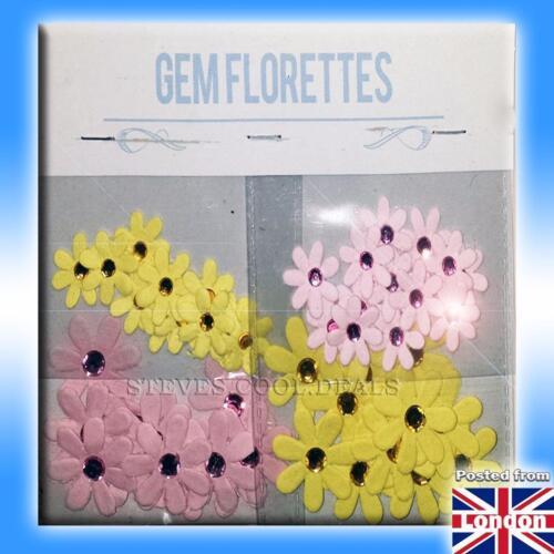 Gem Florets Hand Crafted Paper Flower shapes Gems for Card Craft Embellishment