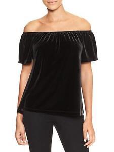 6c65291938035 nwt women s gap Velvet off-shoulder top short sleeve tru black med ...