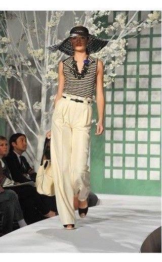1440 NEW Oscar de la Renta High Waist Pants Silk Beige Ivory SKINNY Blac BELT 4