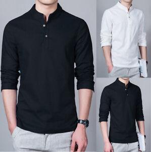 Moda-Hombre-Lino-Camisa-Manga-Larga-Ajustada-Casual-Camiseta-Cuello-Mandarin