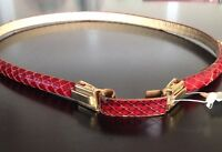 Vintage Joseph Magnin Red Snakeskin Belt 30 Made In France