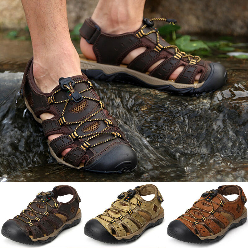 Mens Leather Closed Toe Walking Sports Casual Summer Beach Sandals shoes SiZE@