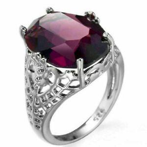 Mode-femme-bague-de-fian-Argent-925-Bague-Gemme-d-039-amethyste-bijoux-Mariage-Bague