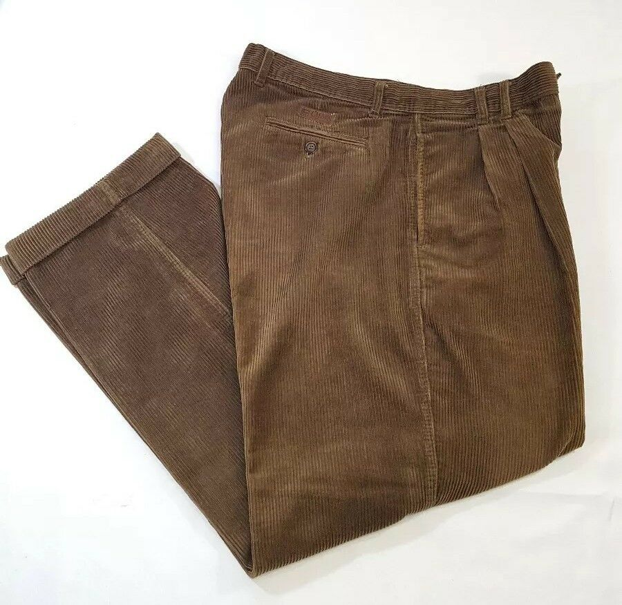 Vtg CHAPS CORDUROY PANTS 36x30 RALPH LAUREN Pleated & Cuffs 100% Cotton Casual
