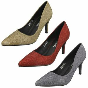Anne-Michelle-F9R0022-Ladies-Red-Gold-Or-Pewter-Court-Shoes-R28B-J-amp-K