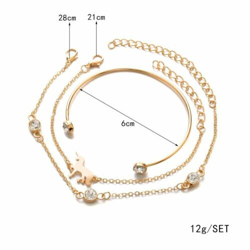 3-6Pcs Punk Womens Boho Tassels Beaded Bracelets Set Bangle Chain Cuff Jewelry