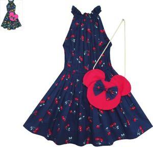 Robe-Fille-Cerise-Fruit-Imprimer-Coton-Avec-Mignon-Sac-A-Main-Bleu-4-8-ans
