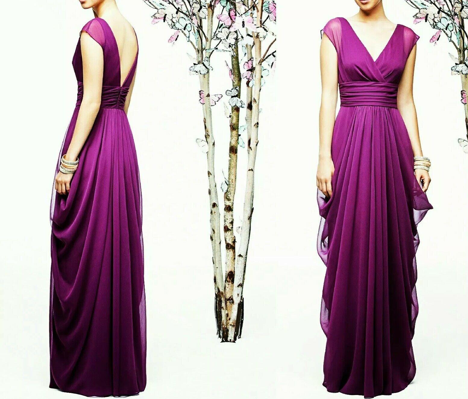Lela Rose berry formal wedding long chiffon purple pink bridesmaid dress 14 NWT
