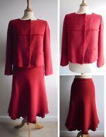 EPISODE Earthy Red Mohair Alpaca Wool Suit Skirt Jacket Silk Trim UK14-16