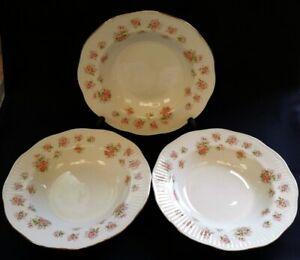 3-x-VTG-Elizabethan-Bone-China-Rimmed-Bowls-Pink-Flowers-FREE-Delivery-UK