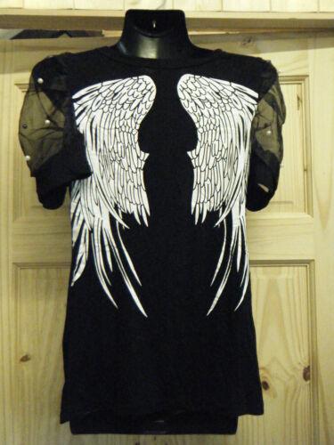 LADIES ANGEL WINGED GOTH BIKERS PUFFY NET SLEEVES TOP BLOUSE T-SHIRT BLACK WHITE