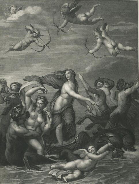 ANTIQUE CUPID CHERUB DOLPHIN APULEIUS SALACIA TRITONS CENTAUR VENUS NUDE  PRINT