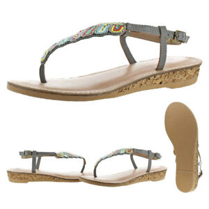 Volatile-Zahara-Women-039-s-Leather-Beaded-Cork-Ankle-Strap-Thong-Sandals-Shoes