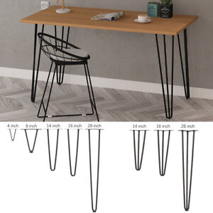 """Pack of 4 Hairpin Table Legs  8/"""" 12/"""" 16/"""" 28/"""" 30/"""" for Furniture Table Desk Bench"""