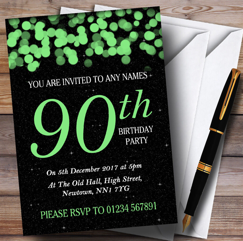 Grün Bokeh & Stars 90th Personalised Birthday Party Invitations