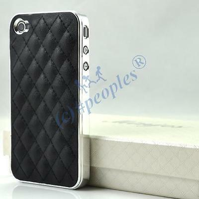 New Black Luxury Leather Chrome Case Cover for iPhone 4S 4