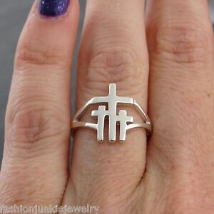 Three-Crosses-Ring-925-Sterling-Silver-Jesus-Calvary-Crucifixion-Religious-NEW