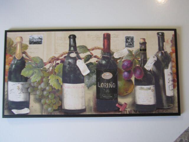 Wine Wall Decor Plaque Kitchen Sign Italian French Grapes Grapevine