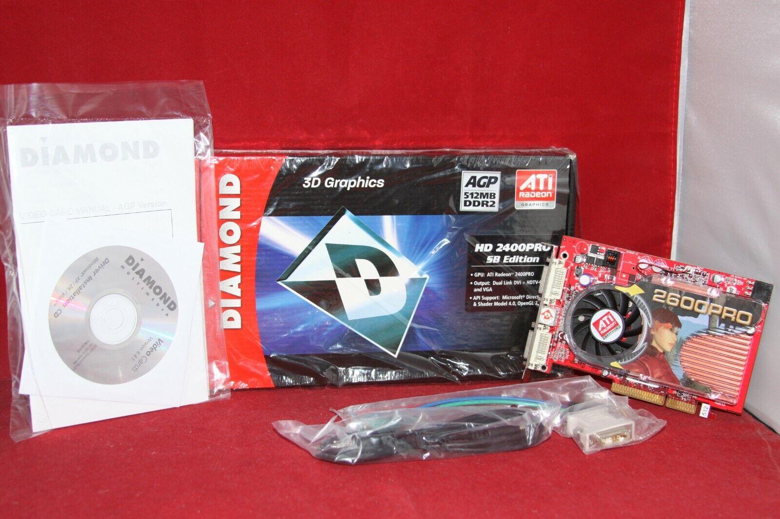 Diamond ATI Radeon 2400PRO 512MB 64-BIT GDDR2, AGP Graphics Card (2400PRO512ASB)