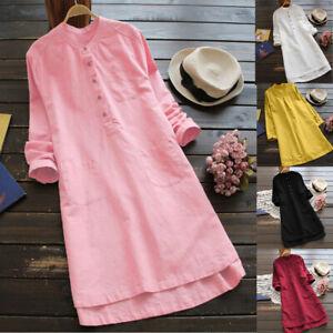 Womens-Cotton-Linen-Maxi-Dress-Long-Sleeve-Casual-Boho-Kaftan-Tunic-Gypsy-Ethnic