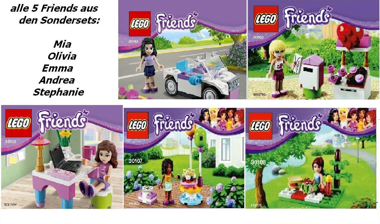 5x LEGO FRIENDS TUTTI esclusivo ragazza 5 30102 30103 30105 30107 30108