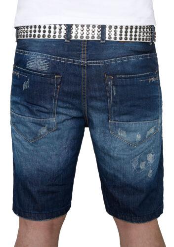 Uomo Shorts Pantaloni Corti Uomo Pantaloncini Jeans Short Blu Denim Used-Look h-072